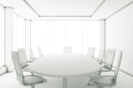 Foto für Completely white meeting room with a round table and large windows - Lizenzfreies Bild