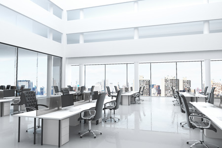 Modern office with open space and large windows