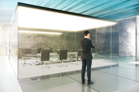 Conference room interior with thinking businessman. 3D Render