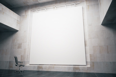 Foto de Side view of blank whiteboard in concrete interior with swivel-chair. Mock up, 3D Render - Imagen libre de derechos