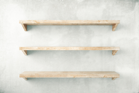 Photo pour Empty shelves on concrete wall background. Mock up, 3D Render - image libre de droit