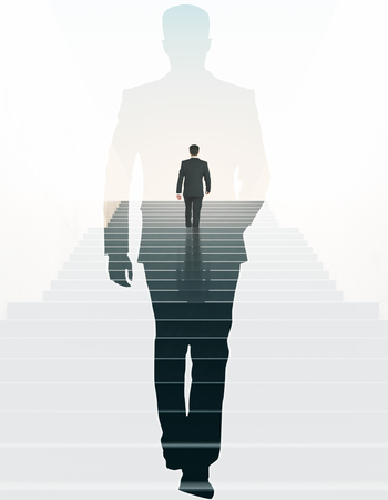 Back view of businessman climbing stairs and walking male silhouette on light background. Success concept. Double exposureの写真素材