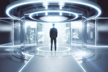 Thoughtful businessman in front of glowing silver teleportation station with financial screens. Future concept. 3D Rendering