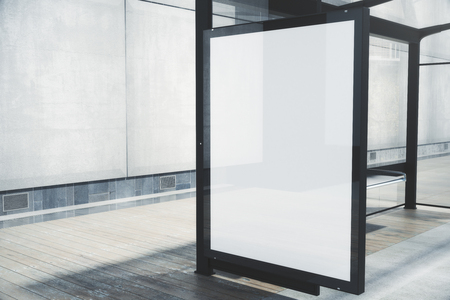 Photo pour Modern bus stop with blank white poster. Close up, Mock up, 3D Rendering - image libre de droit