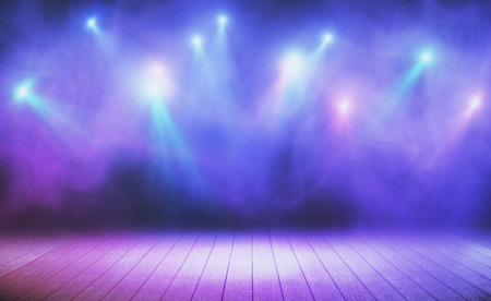 Photo for Wooden stage with blue smoke and spot lights. Presentation concept - Royalty Free Image