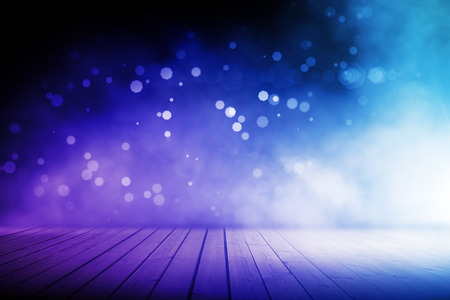 Photo for Abstract blurry blue stage with wooden floor - Royalty Free Image
