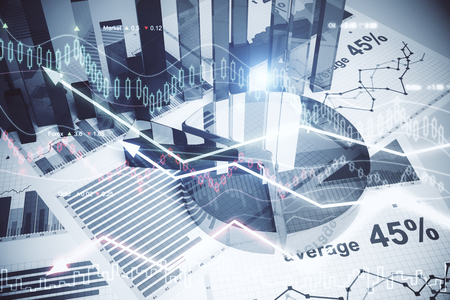 Photo pour Abstract forex wallpaper. Innovation, economy, finance and trade concept. Double exposure  - image libre de droit