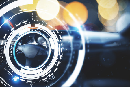 Photo for Car with modern digital interface on bokeh background. Transport and innovation concept. Double exposure  - Royalty Free Image