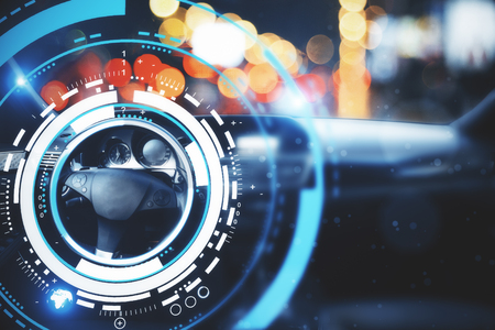 Photo pour Car with modern digital interface on bokeh background. Transport and future concept. Double exposure  - image libre de droit