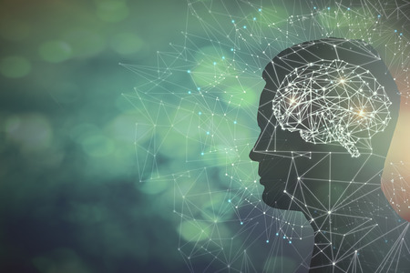 Photo for Man profile silhouette with abstract polygonal brain on blurry background. Artificial intelligence and science concept. 3D Rendering  - Royalty Free Image