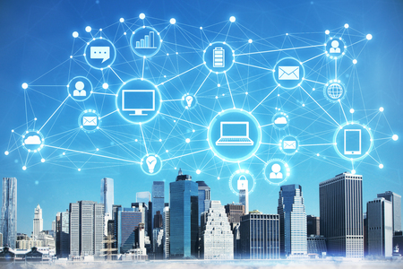 City with digital business interface. Future and innovation concept