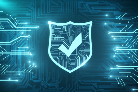Photo pour Creative glowing digital antivirus texture. Web safety and cyberspace concept. 3D Rendering  - image libre de droit