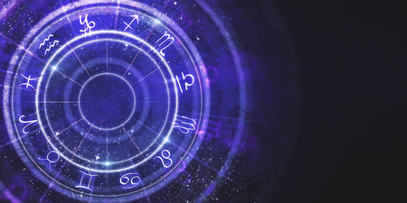 Photo for Creative purple zodiac wheel background. Cyberspace concept. 3D Rendering  - Royalty Free Image