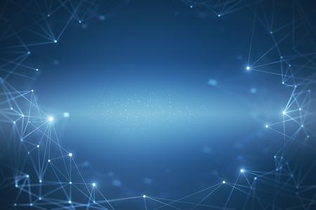 Foto de Creative glowing blue polygonal background. Science and technology concept. 3D Rendering - Imagen libre de derechos