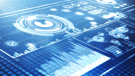 futuristic user interface HUD and infographic elements at blue background