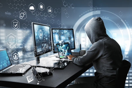 Photo pour Side view of hacker using computer with digital interface while sitting at desk of blurry interior. Hacking and information concept. 3D Rendering - image libre de droit
