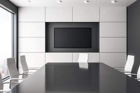 Foto de Contemporary concrete meeting room interior with empty banner and panoramic city view with sunlight. Mock up, 3D Rendering - Imagen libre de derechos