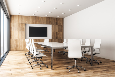 Photo pour Contemporary wooden meeting room interior with empty poster and panoramic city view with sunlight. Mock up, 3D Rendering - image libre de droit
