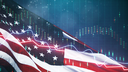 Photo pour Creative american flag with forex chart on blurry background. USA economy and dollar concept. Double exposure - image libre de droit