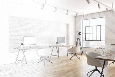 Photo pour Unfinished modern coworking office interior design. Style and workplace concept. 3D Rendering - image libre de droit