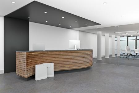 Foto de Modern lobby interior with reception desk. Office waiting area concept. 3D Rendering - Imagen libre de derechos