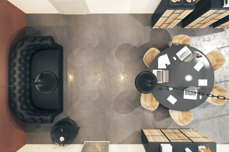 Photo pour Top view of modern boarding room interior with furniture and equipment. 3D Rendering - image libre de droit