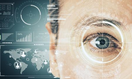 Photo pour Close up of man face with digital business interface. Biometrics and technology concept. Double exposure - image libre de droit