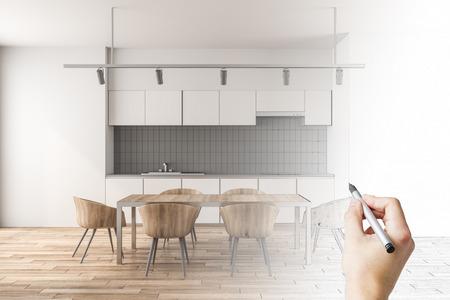 Photo pour Hand drawing modern kitchen interior. Plan and blueprint concept. 3D Rendering - image libre de droit