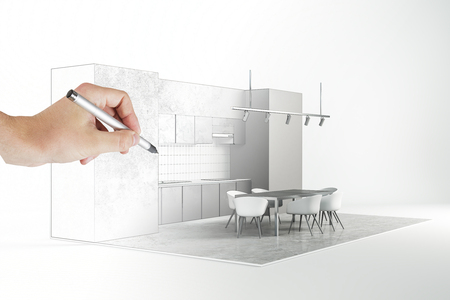 Photo pour Architect hand drawing abstract modern kitchen interior on white background. Engineering and blueprint concept. - image libre de droit