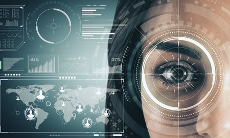 Photo for Close up of woman face with digital business interface. Biometrics and internet concept. Double exposure - Royalty Free Image