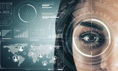 Photo pour Close up of woman face with digital business interface. Biometrics and internet concept. Double exposure - image libre de droit