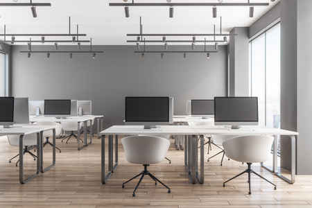 Photo for Professional coworking office interior with panoramic city view, daylight and equipment. 3D Rendering - Royalty Free Image