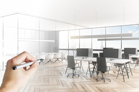 Photo pour Hand drawing modern meeting room sketch. Engineering and architecture concept. 3D Rendering - image libre de droit