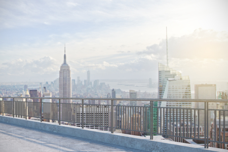 Photo for Contemporary rooftop with New York city view. Lifestyle concept - Royalty Free Image