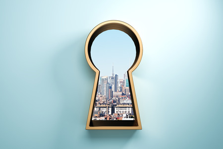 Photo for Blue wall with golden keyhole window and city view. Access and success concept. 3D Rendering - Royalty Free Image