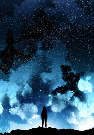 Rear view of backlit hacker standing on beautiful cloudy starry sky space background. Dream and hacking concept