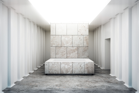 Photo pour Abstract exhibition interior with empty concrete pedestal. Gallery concept. Mock up, 3D Rendering - image libre de droit