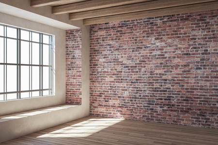 Photo pour Contemporary loft red brick interior with window and sunlight. 3D Rendering - image libre de droit