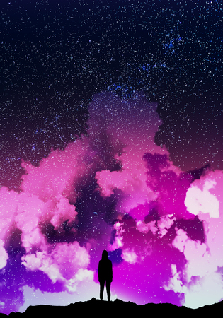 Photo for Rear view of backlit hacker standing on beautiful cloudy starry sky space background. Thief and hacking concept - Royalty Free Image
