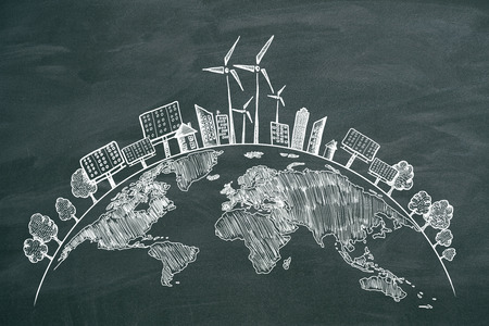 Foto per Creative eco globe sketch on chalkboard background. Eco-friendly and environment concept - Immagine Royalty Free