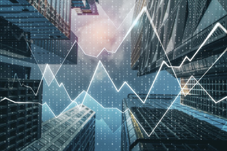 Creative city background with forex chart and numbers. Trade and analysis concept. Double exposure