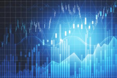 Foto de Trade and finance concept. Creative forex chart backdrop with lines. 3D Rendering - Imagen libre de derechos