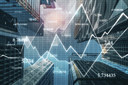 Creative city background with forex chart and numbers. Trade and economy concept. Double exposure