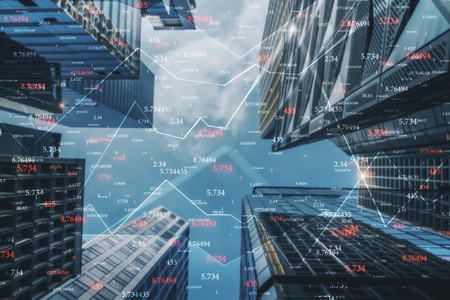 Creative city background with forex chart and numbers. Trade and invest concept. Double exposure