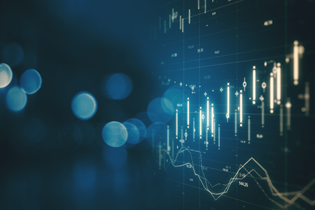 Photo for Creative forex chart on blue bokeh background. Finance and invest concept. Double exposure - Royalty Free Image