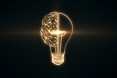 Foto de Creative glowing lamp brain on black wallpaper. Innovation and AI concept. 3D Rendering - Imagen libre de derechos