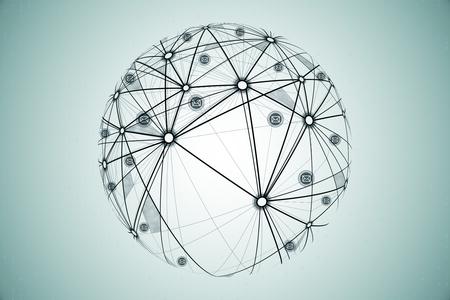 Photo pour Social network and global concept. Hand drawn globe on subtle background, 3D Rendering - image libre de droit