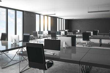 Foto de Minimalistic concrete coworking office interior with city view and daylight. Workplace concept. 3D Rendering - Imagen libre de derechos