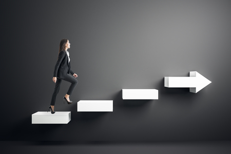Photo pour Side view of young businesswoman climbing abstract white arrow ladder on black background. Growth and success concept. - image libre de droit