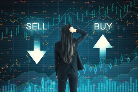 Photo pour Back view of thoughtful businesswoman on creative buy sell forex chart background. Market and trade concept - image libre de droit